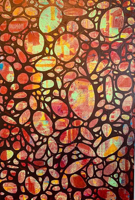 """Garden Gate, acrylic on canvas, 40"""" x 30"""" (framed)"""