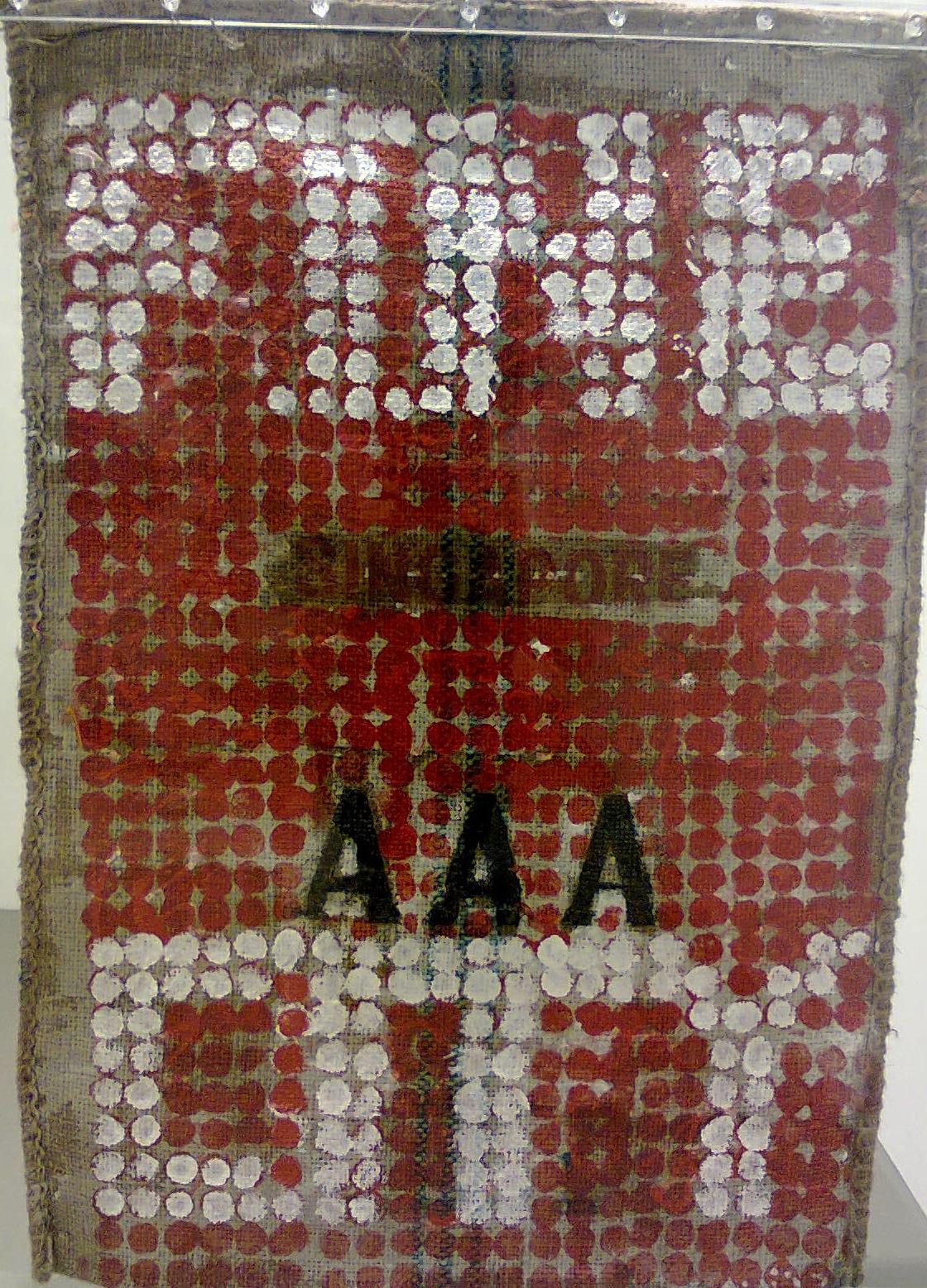 Anthony CHUA   Fine City  2012 Acrylic on rice sack 99 x 83 cm