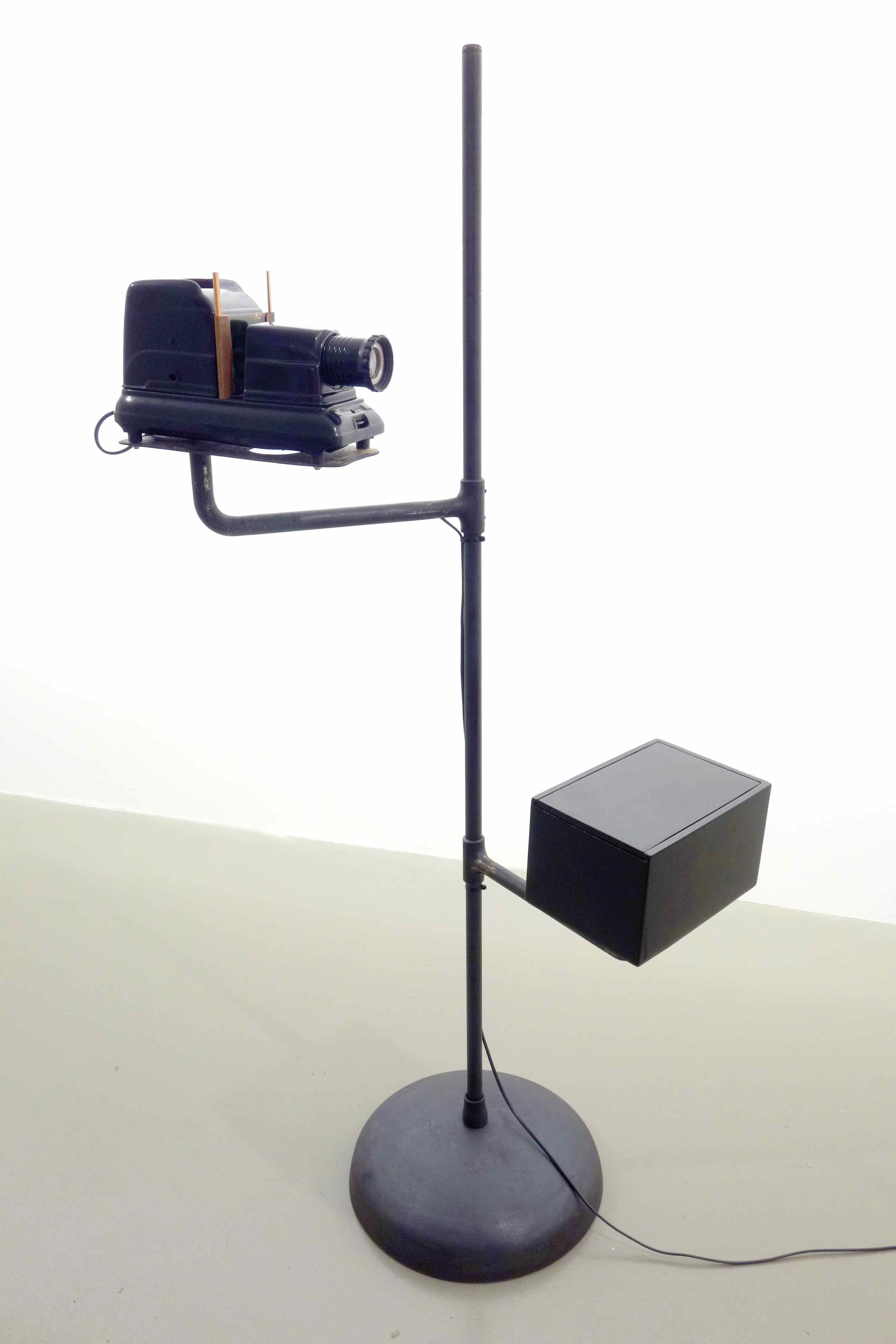 Lacquerscope #7  2014 Son Ta lacquered medium format (50mm) projector. Iron stand, base and swivel arms 174.5 x 121 cm