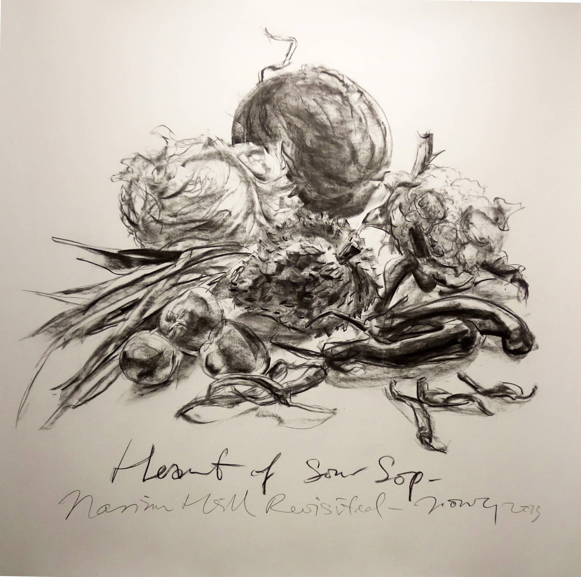 Heart of Soursop  2013 Charcoal on paper approx. H120 x W120 cm