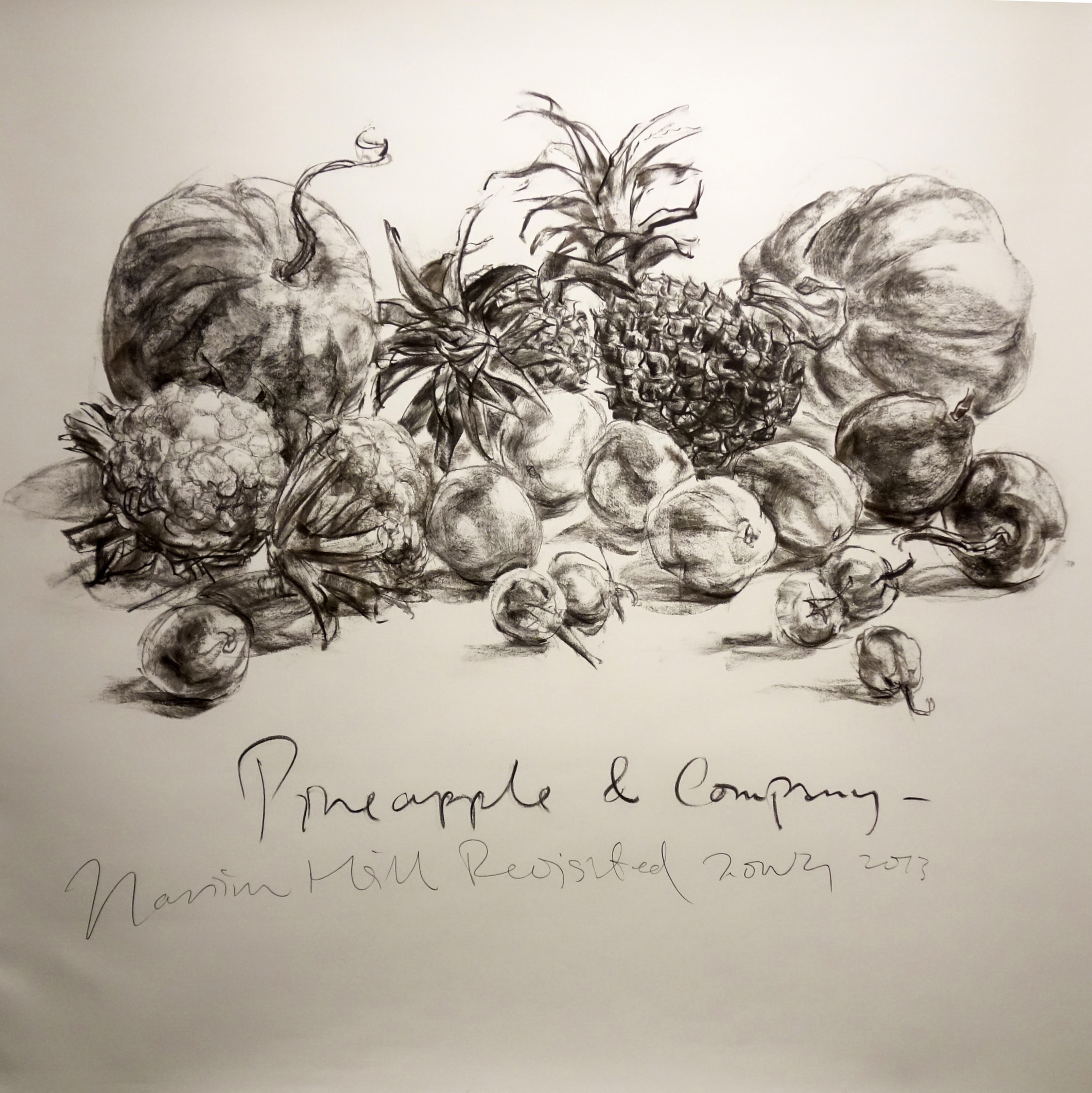Pineapple & Company   2013 Charcoal on paper approx. H120 x W120 cm