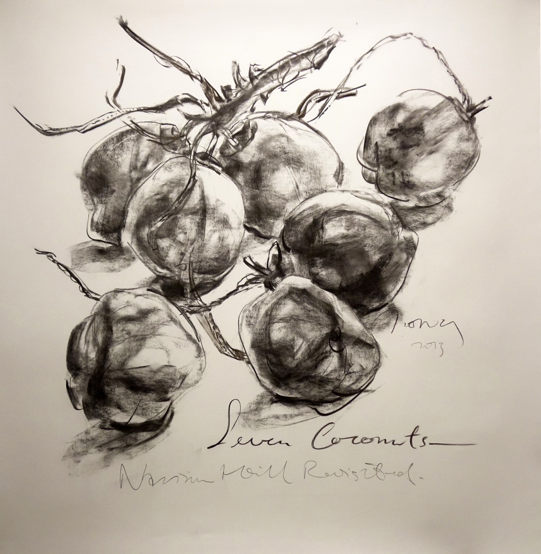 Seven Coconuts  2013 Charcoal on paper approx. H121 x W117 cm