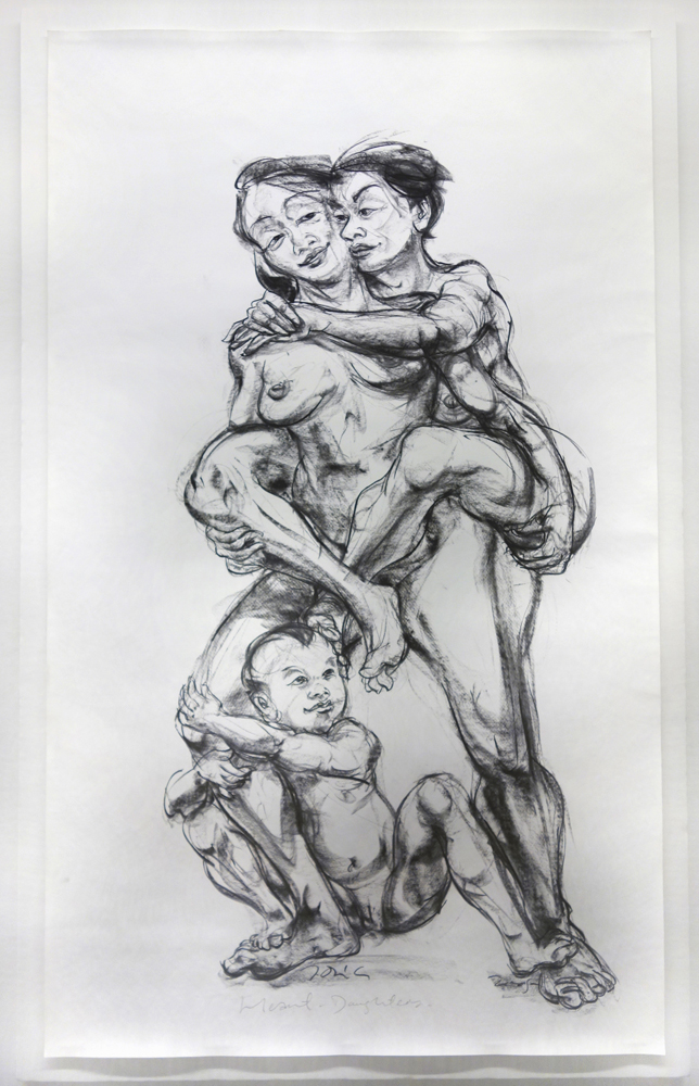 Heart Daughters  2007 Charcoal on paper H225.5 x W140 cm (inclu. mounting board)