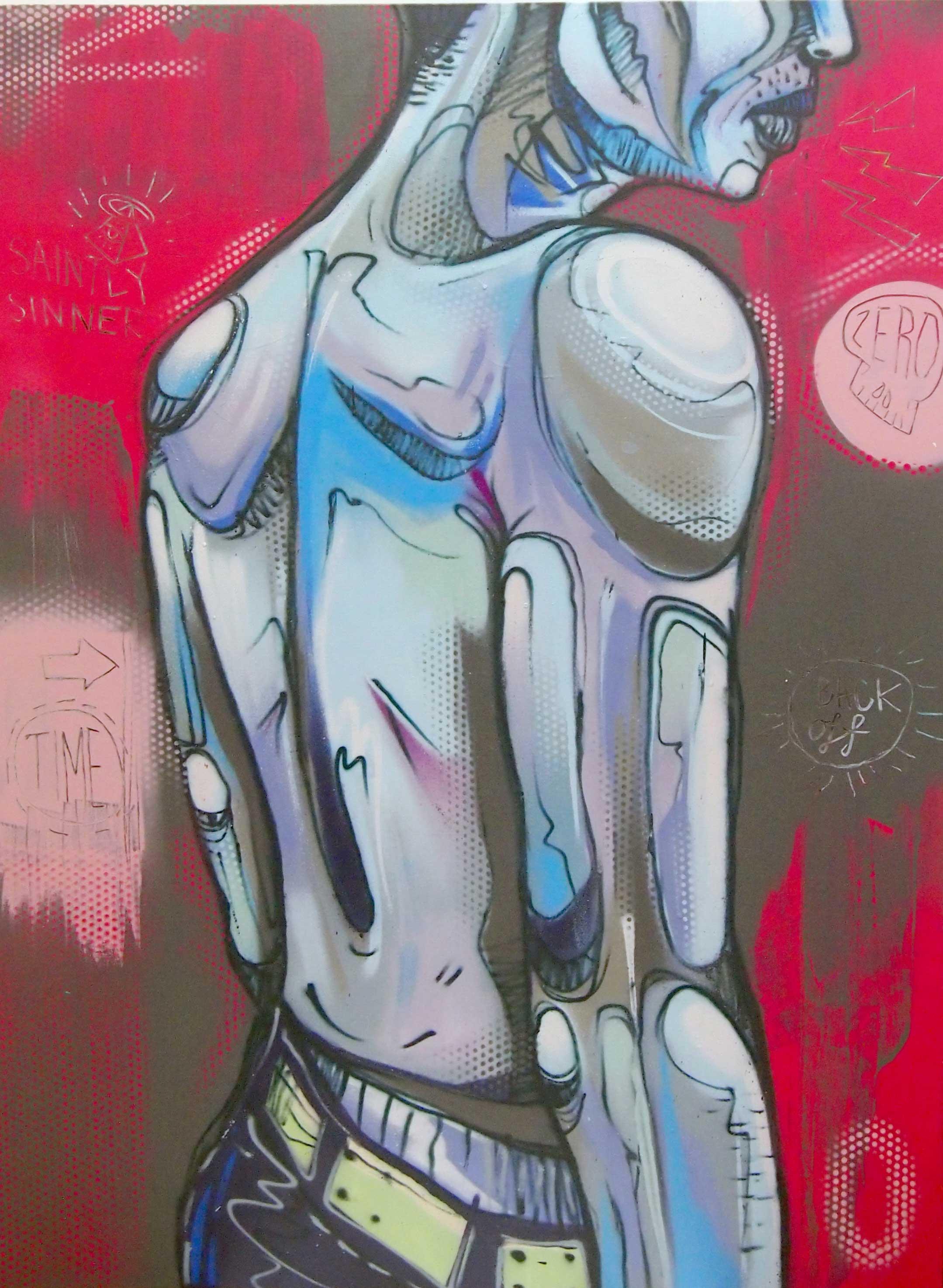 "ZERO  BackingOut  2013 Aerosol paint on canvas 48 x 36"""