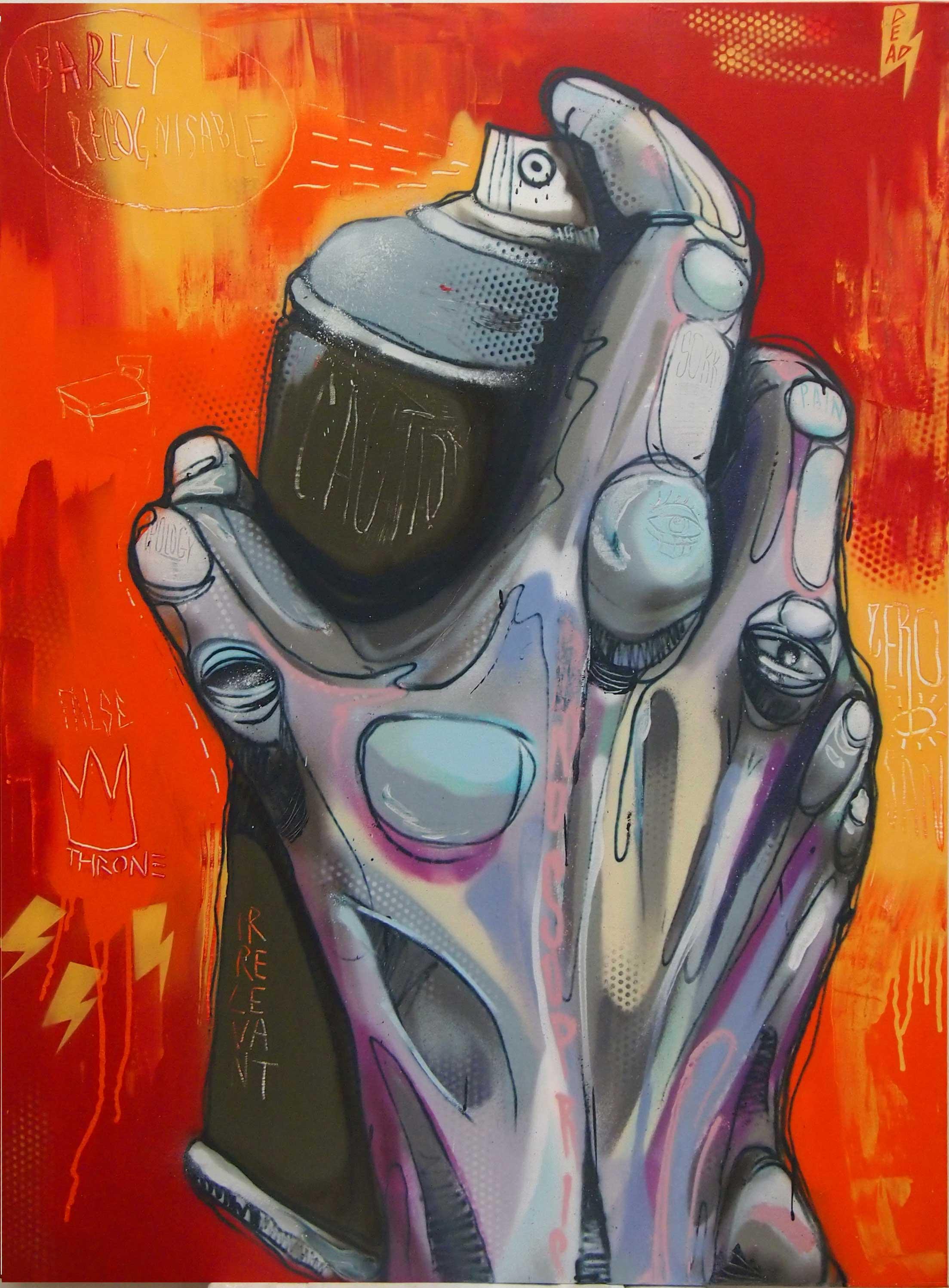 """ZERO  MistyEyed  2013 Aerosol paint on canvas 48 x 36"""""""