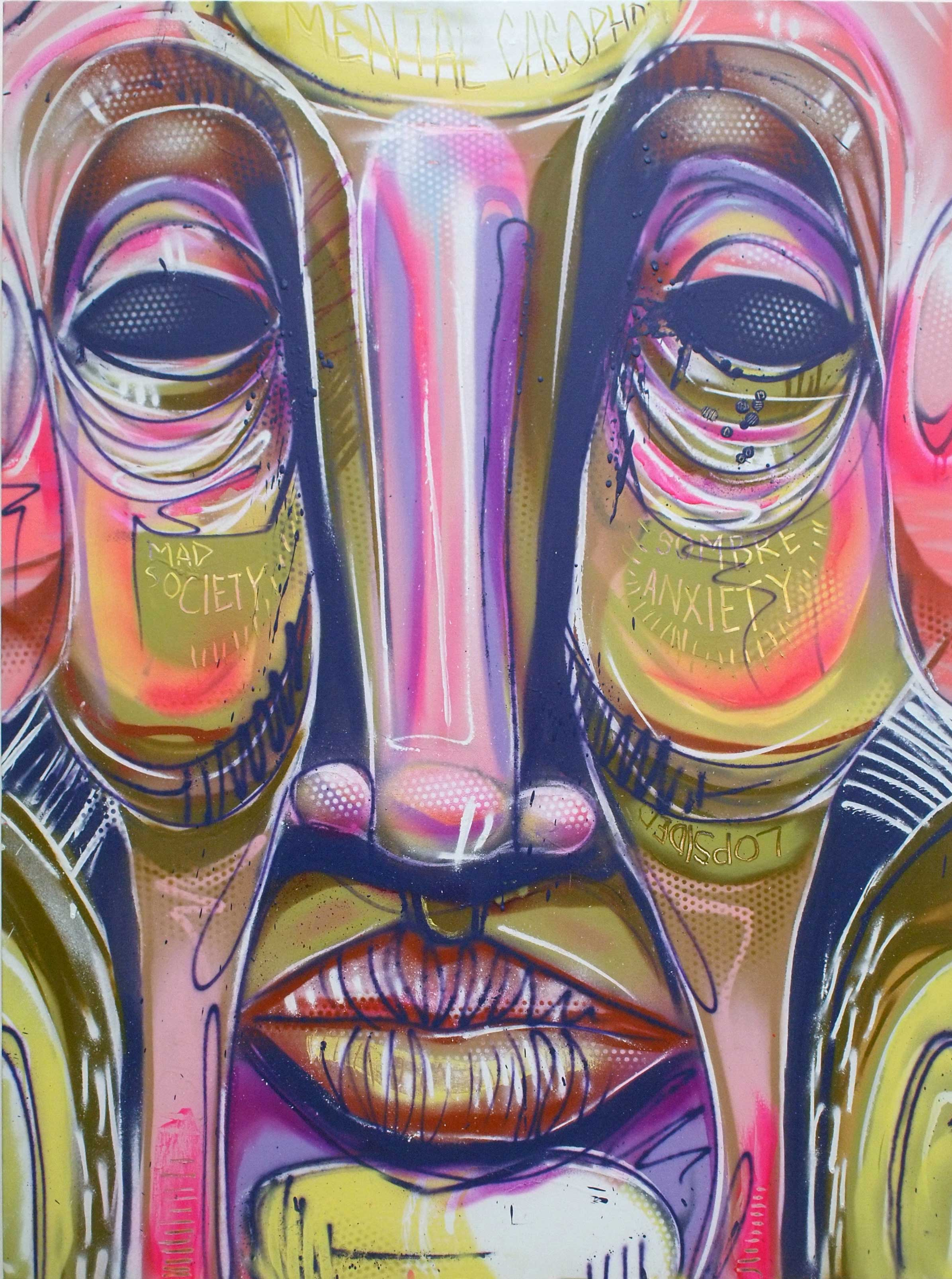 "ZERO  SombreAnxiety  2013 Aerosol paint on canvas 48 x 36"""