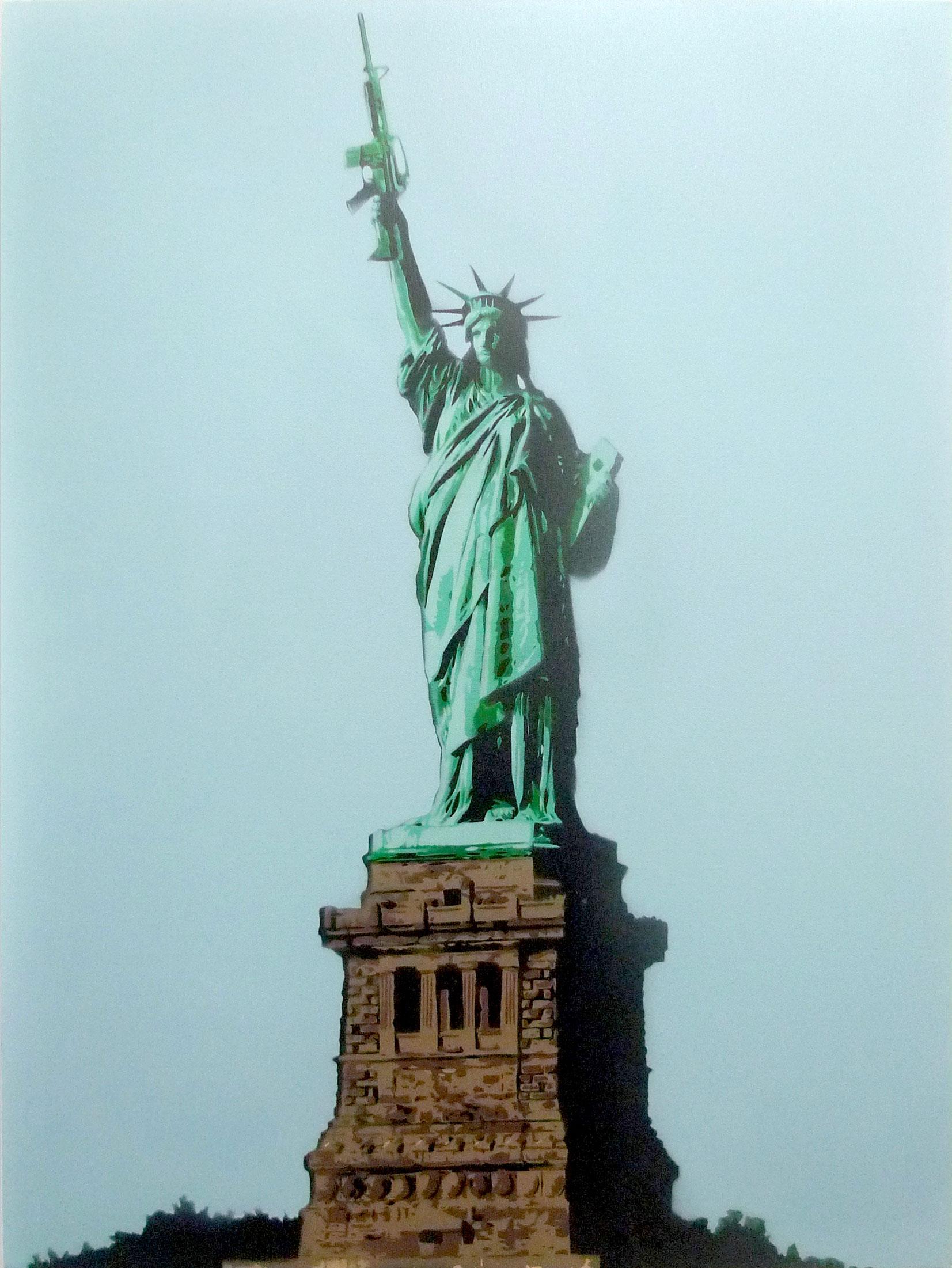 "TR853-1  Guns.Bless.America  2013 Spray paint on canvas 40 x 30"""