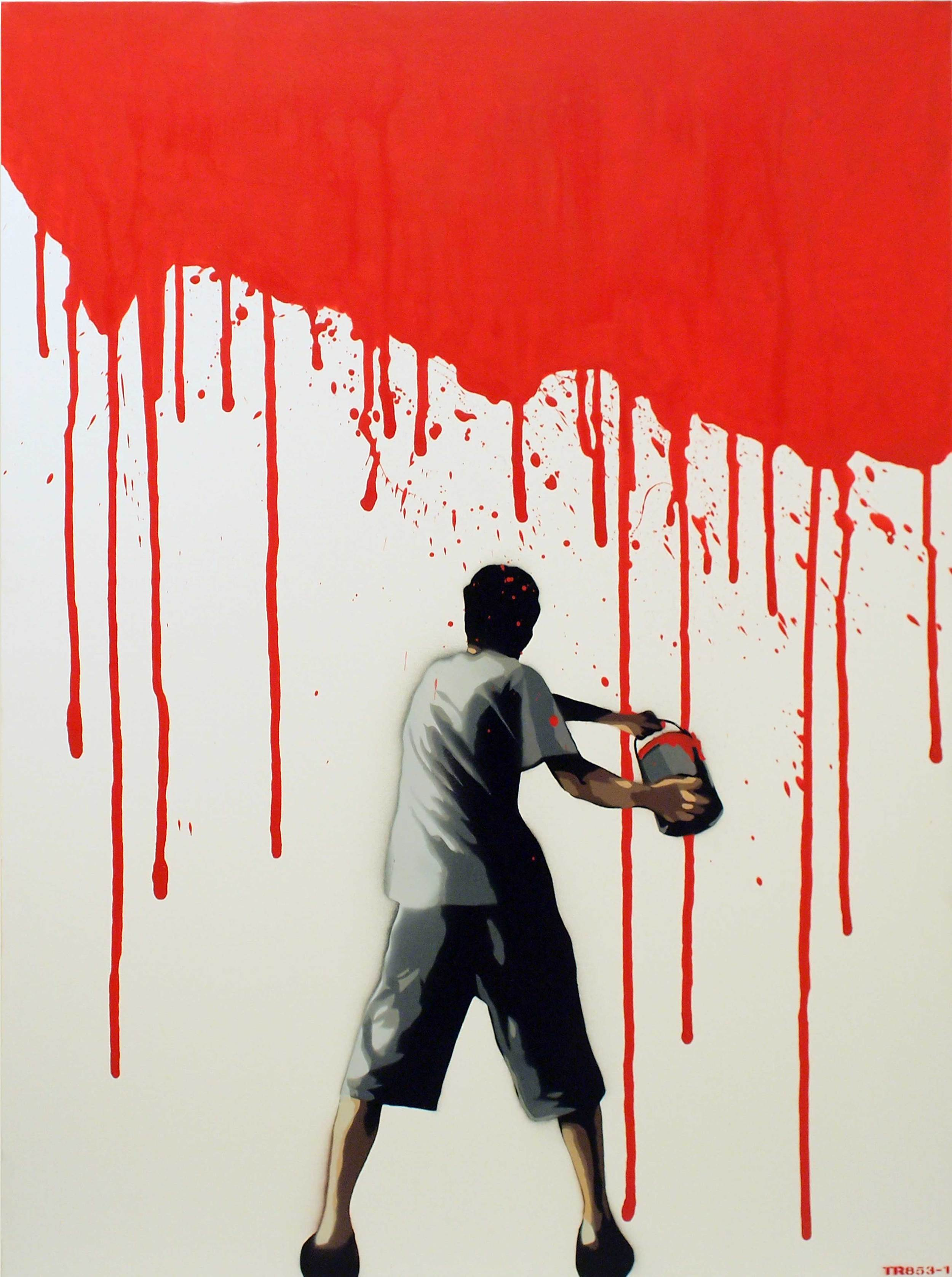"""TR853-1  Paint The Town Red  2013 Spray paint on canvas 40 x 30"""""""