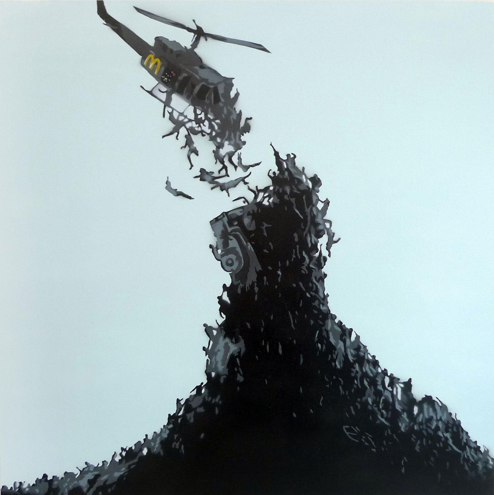"TR853-1  World.War.M  2013 Spray paint on canvas 30 x 30"""