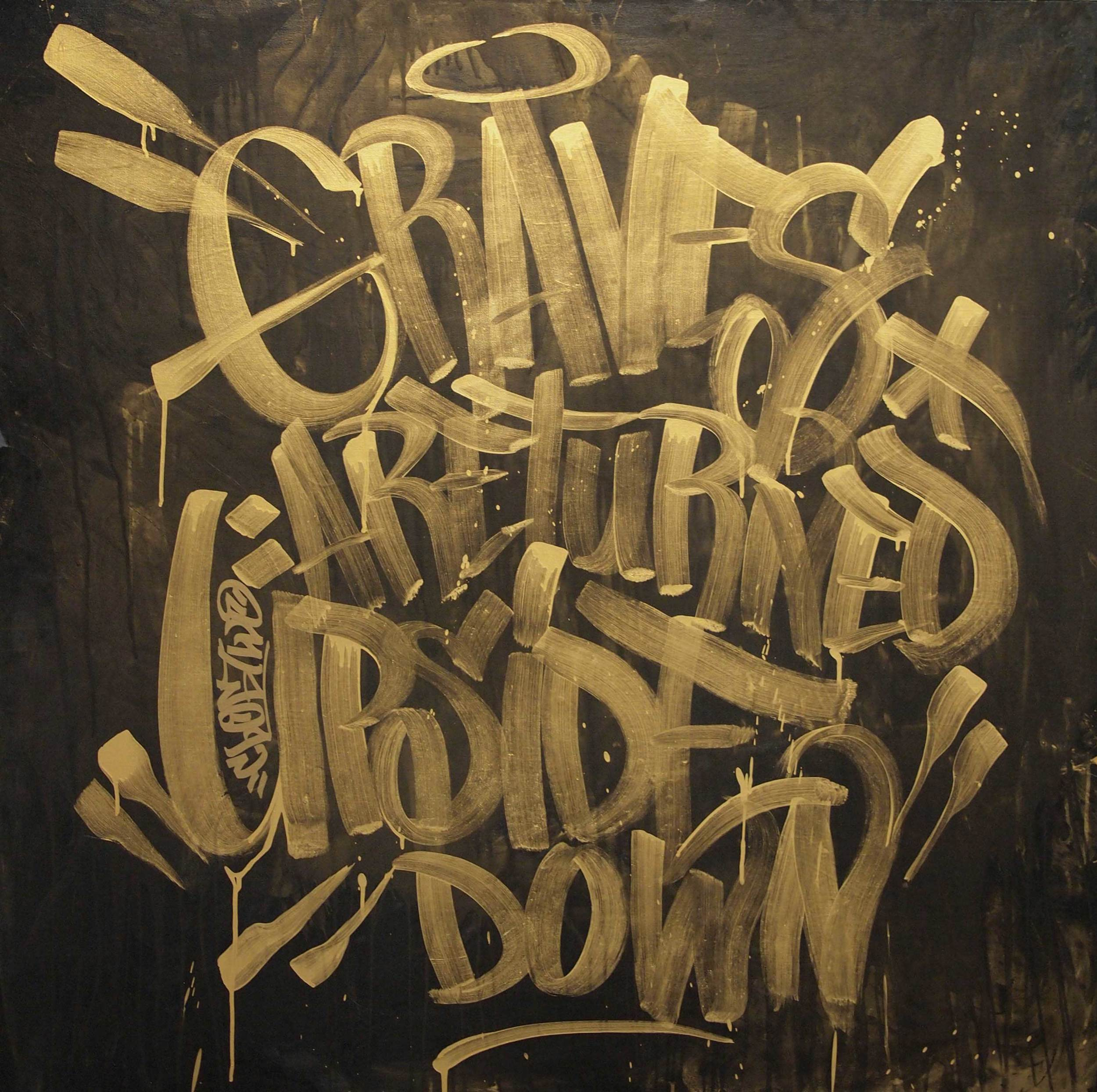 """ClogTwo  Graves are turned upside down  2011 2k gold paint and acrylic on canvas 40 x 40"""""""
