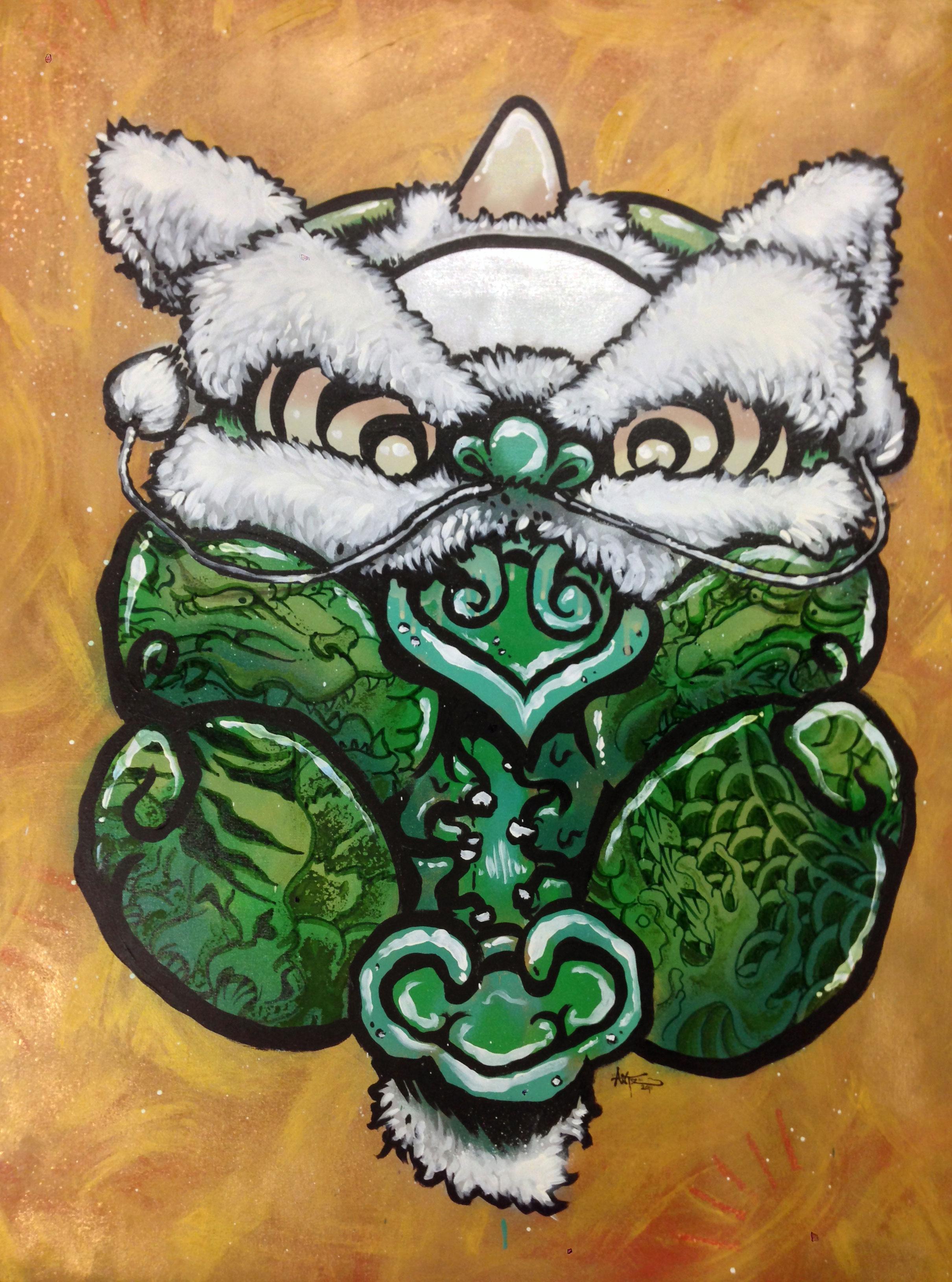 """ANTZ  Lui Lion  2011 Mixed medium on canvas 43 x 30"""""""