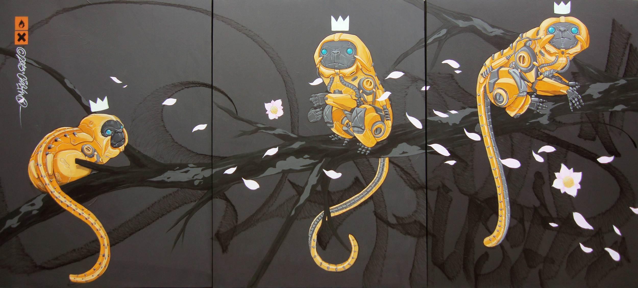 "ClogTwo  GoldRush  2013 Acrylic on canvas 48 x 108"" (triptych)"