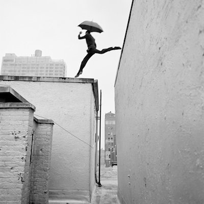 "Reed Leaping Over Rooftop, New York, New York  2007 Silver gelatine print 15.5 x 15.5"" (image) 28 x 32"" (mount)"