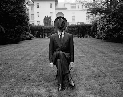 "Kiton Man, The Knole Estate, Long Island, New York  1995 Silver gelatin print 15.5 x 15.5"" (image) 28 x 32"" (mount)"