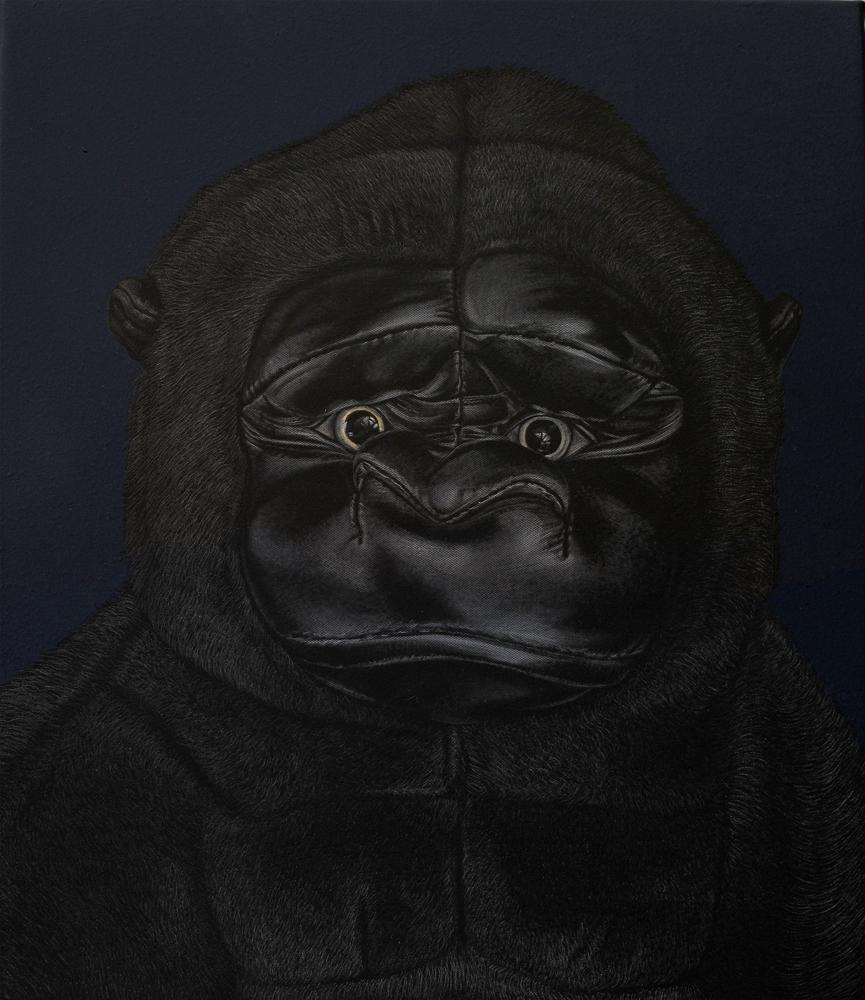 "Protagonist (Godzilla)  2013 Engraved drawing on vinyl 16 x 12"""