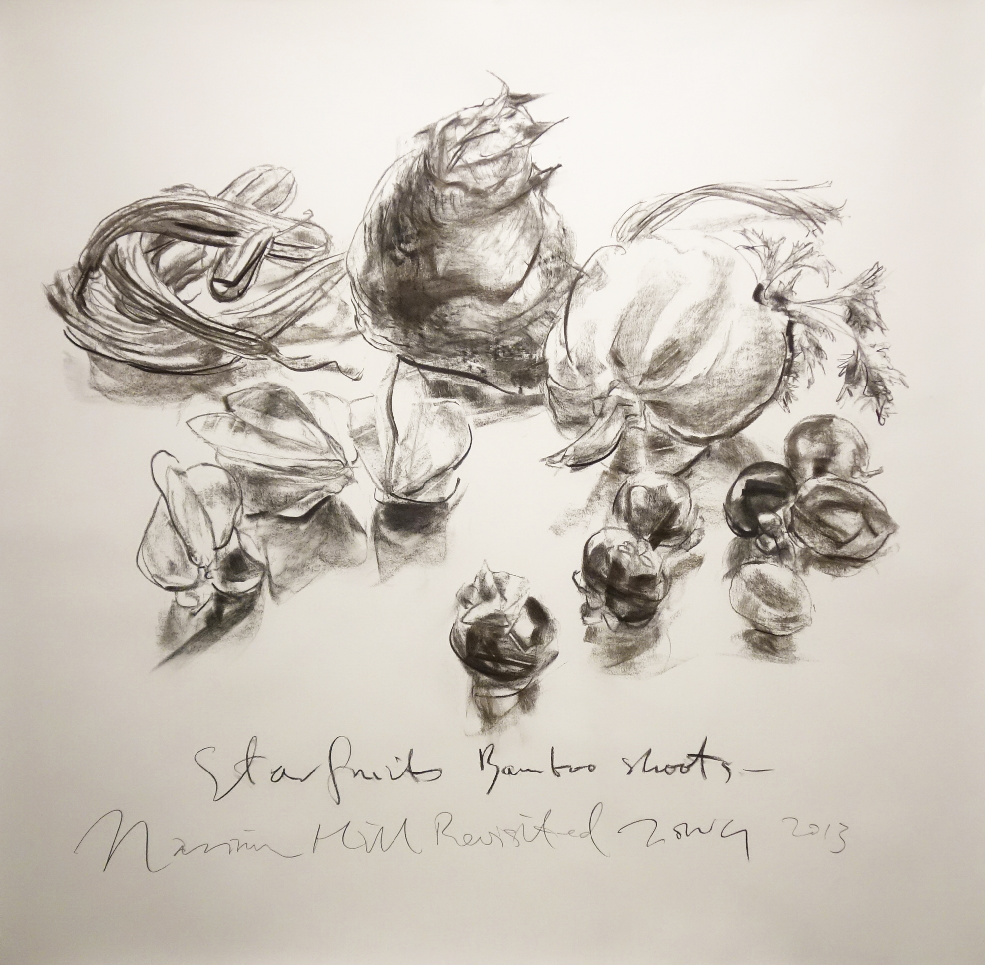 Jimmy ONG  Starfruits Bamboo shoots  Charcoal on paper 2013 120 x 135 cm