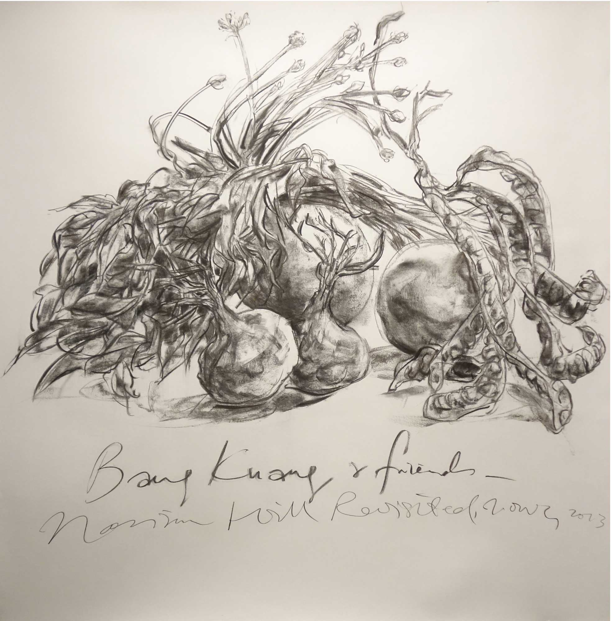 Jimmy ONG  Bang Kuang & friends  2013 Charcoal on paper 120 x 120 cm