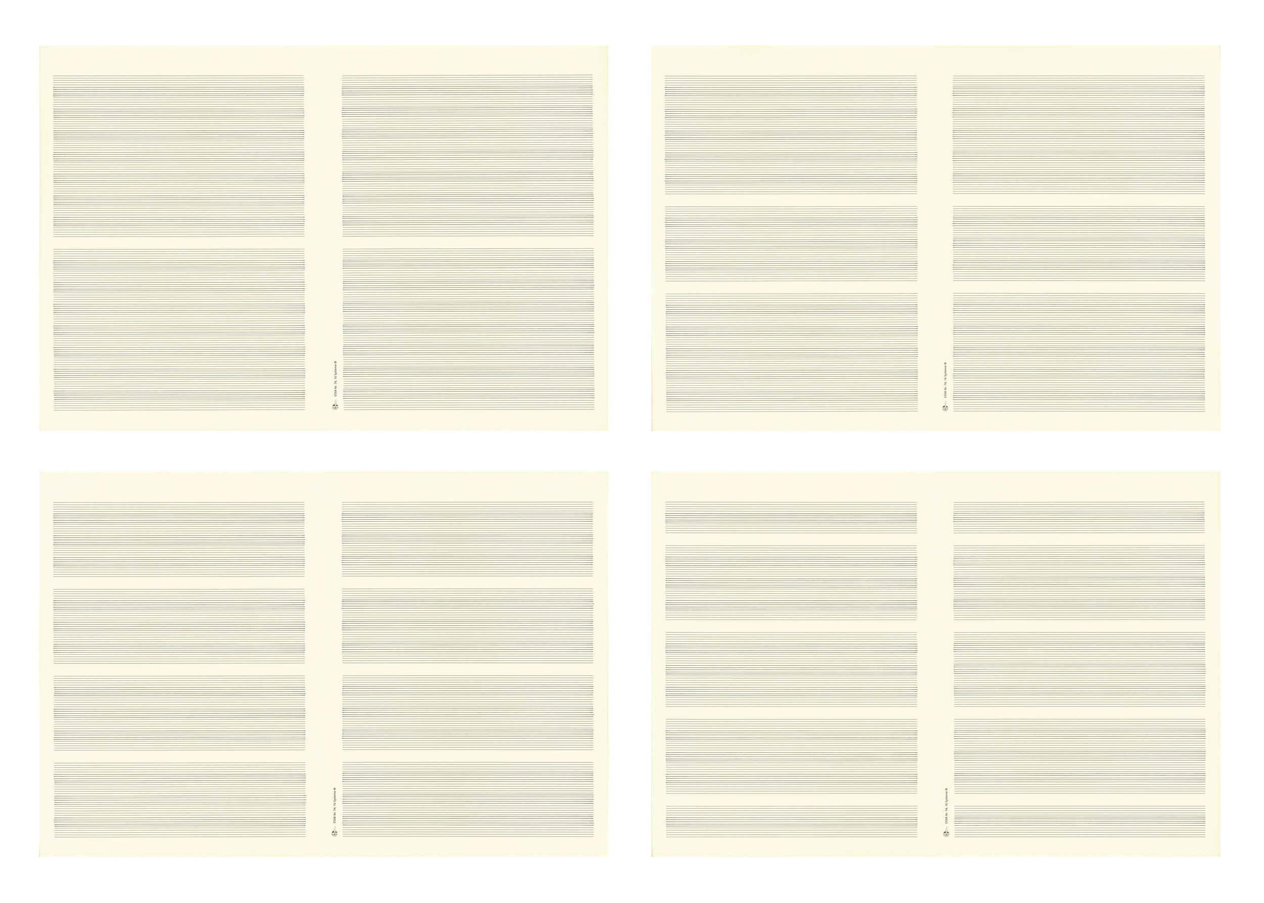 Song-Ming ANG  Music Manuscripts No. 11-14  2013 Ink on paper 32.4 x 48 cm (each) Set of 4