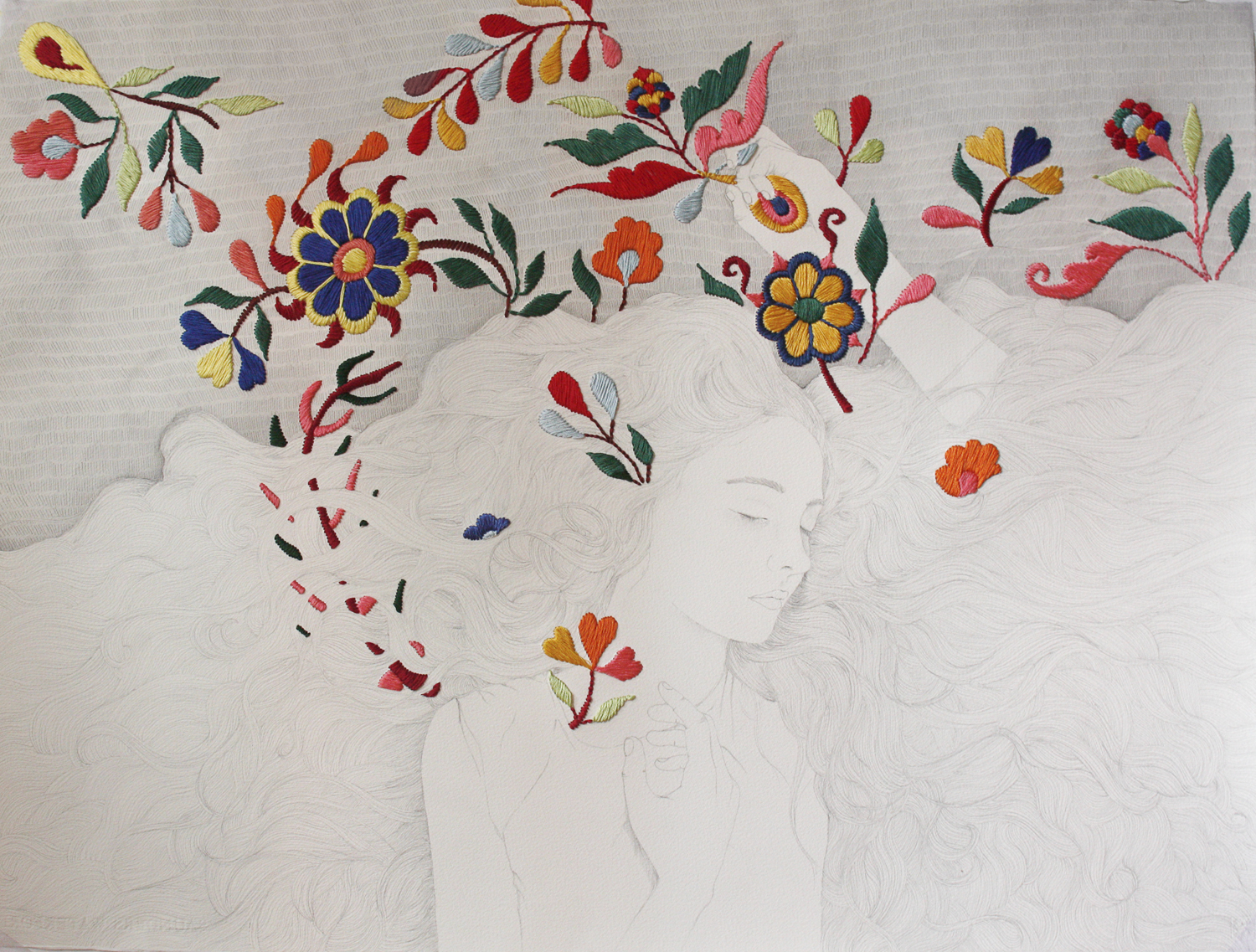 Izziyana SUHAIMI  The Loom in our Bones 8  2013 Embroidery and pencil on paper 57 x 75 cm