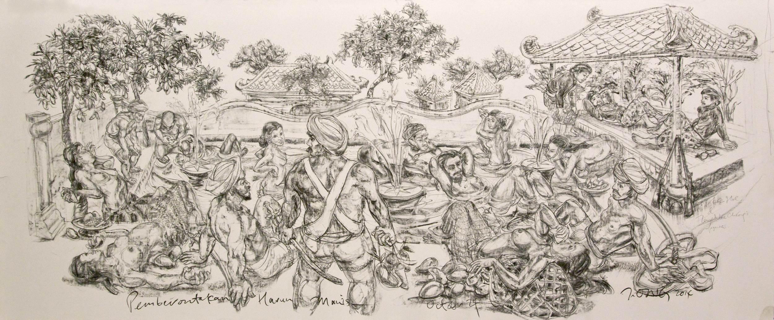 Pemberontakan Harun Manis  2014 Charcoal on paper 128.5 x 293.5 cm (paper)