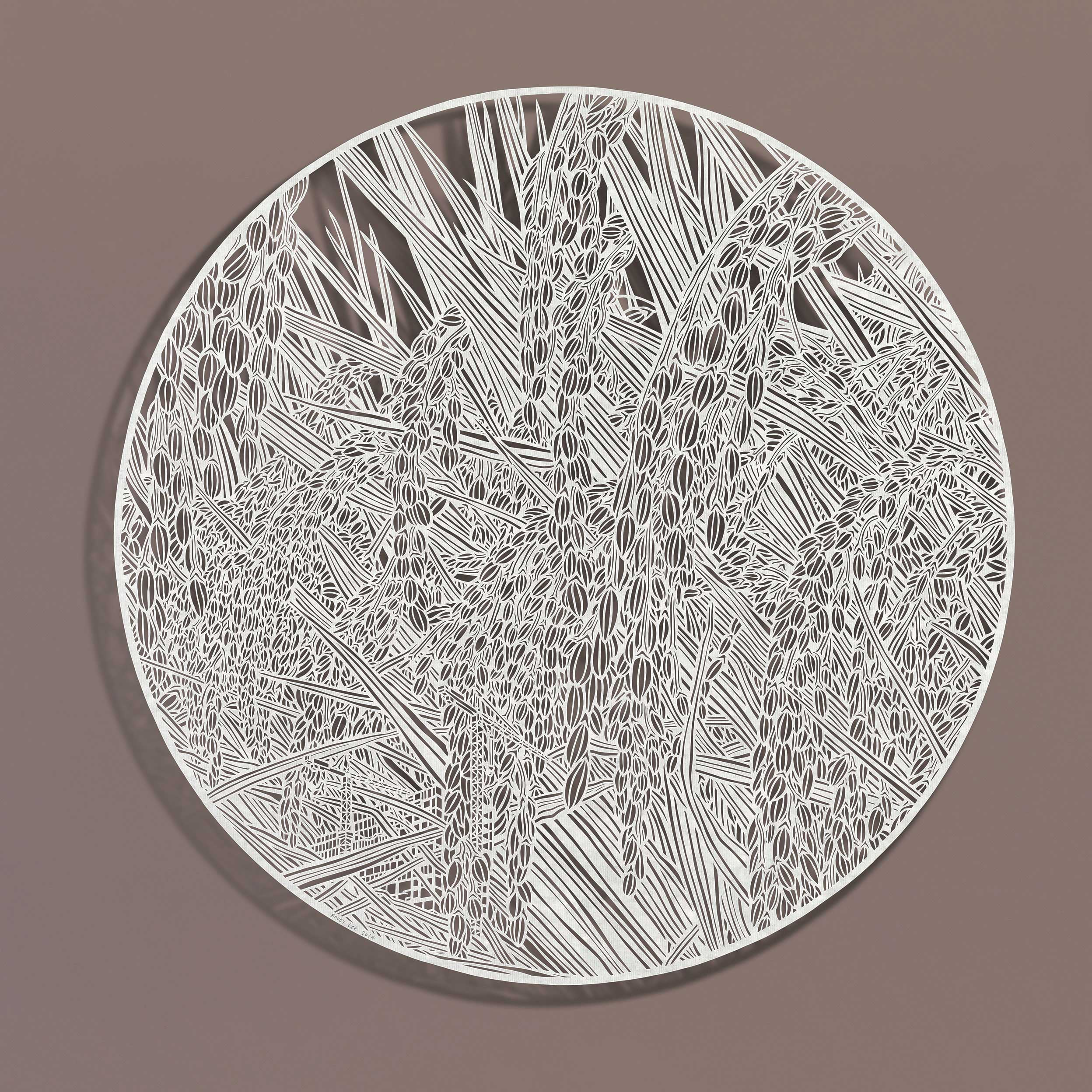 Bovey LEE  Outgrow Rice Grains  2014 Cut paper 52 cm Ø