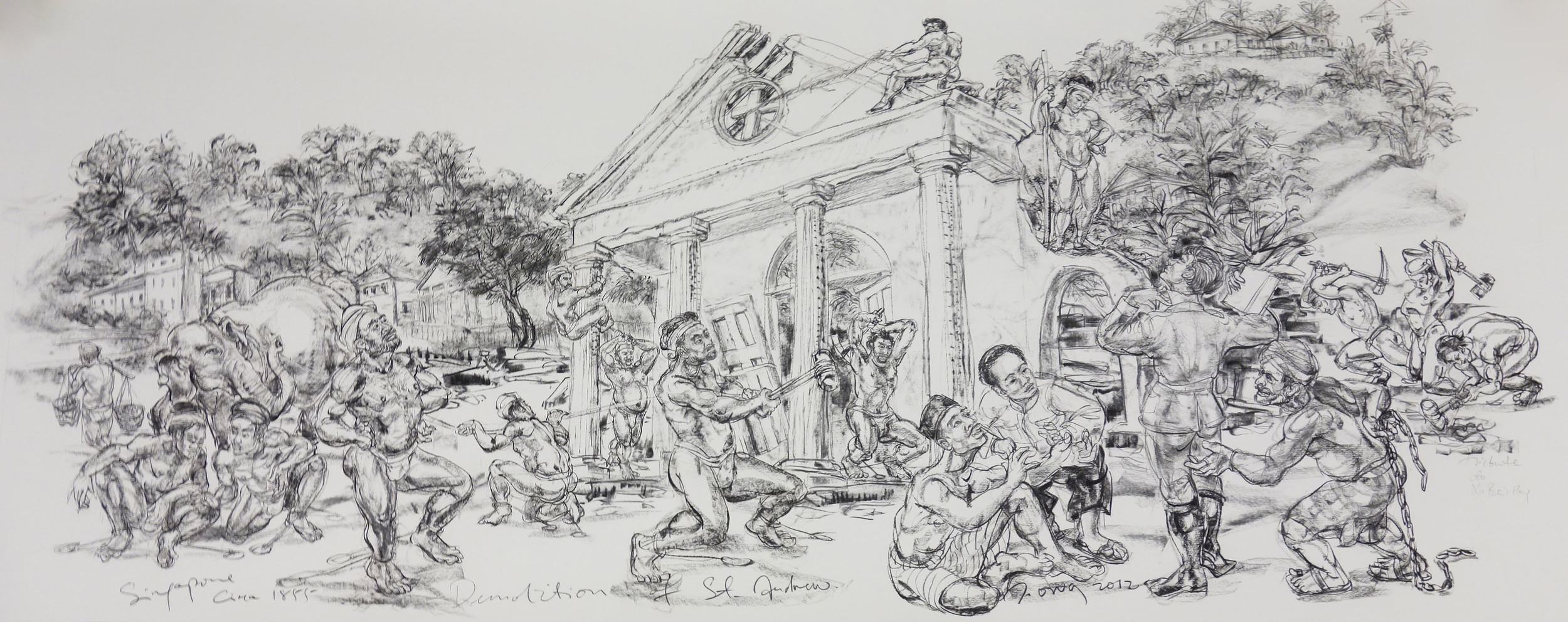 Demolition of St Andrew's  2012 Charcoal on paper 128.5 x 309 cm (paper)