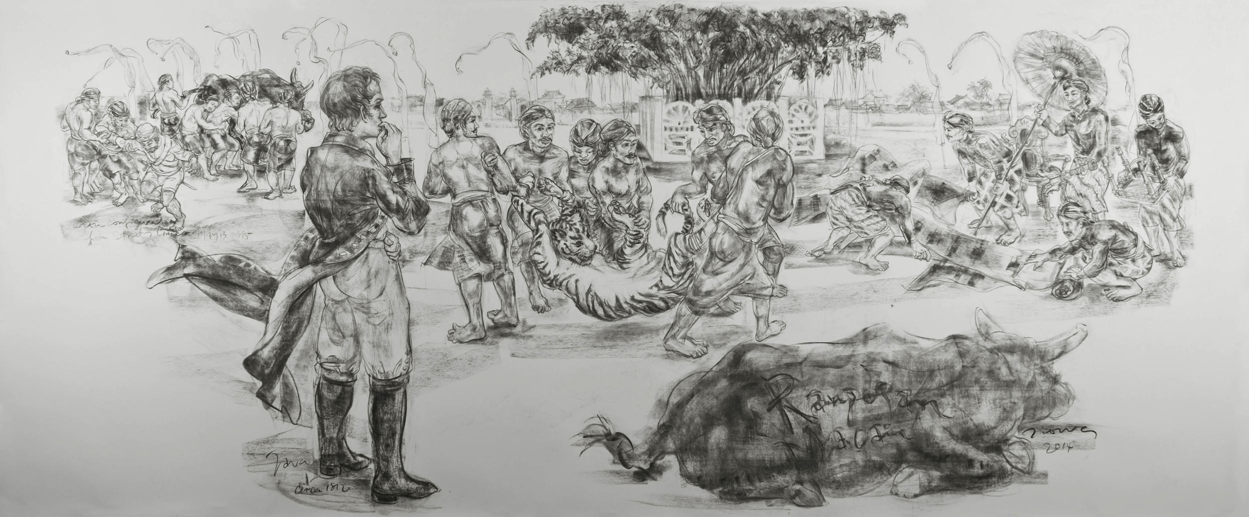 Rampogan Macan  2014 Charcoal on paper 128 x 313 cm (paper)