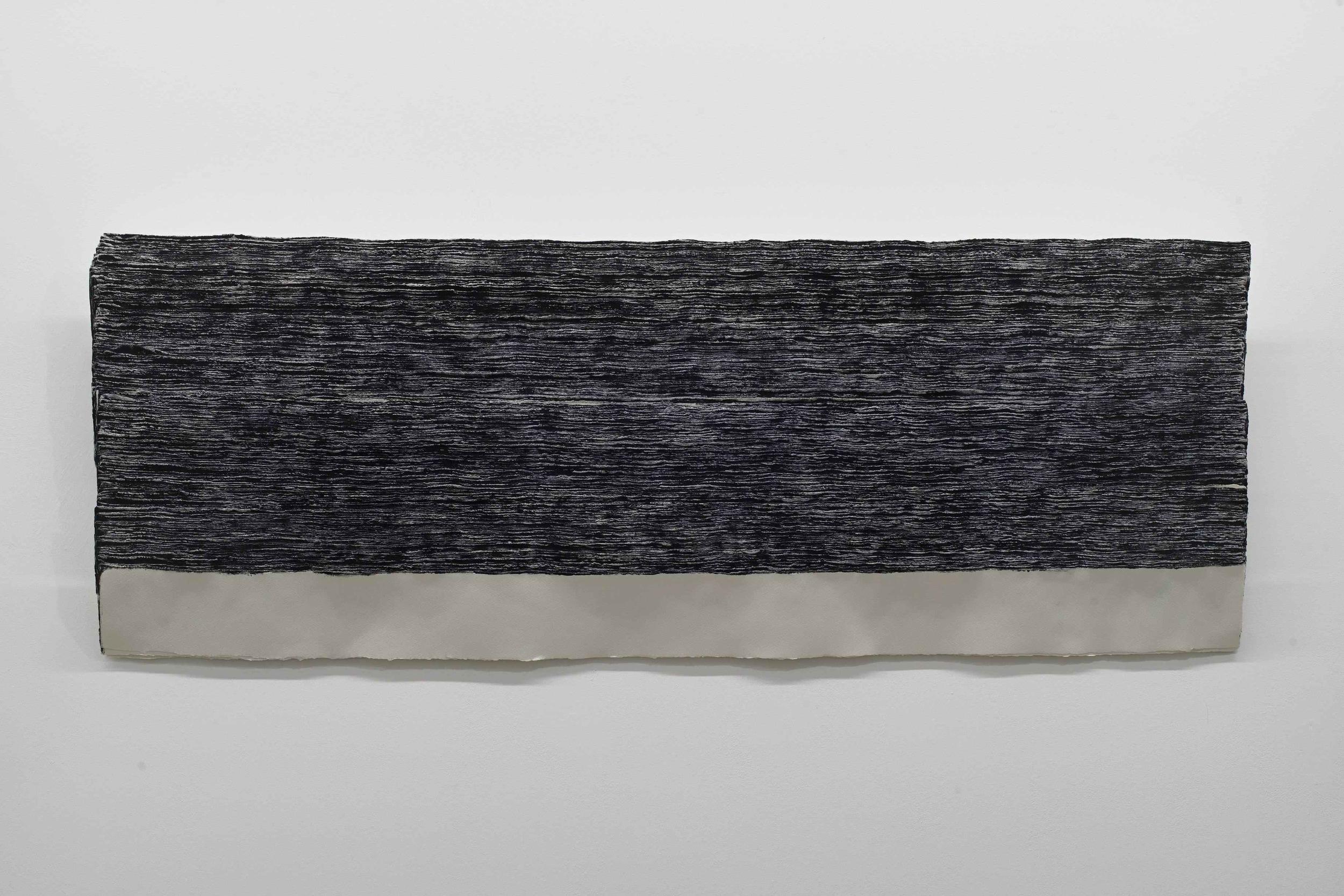 n. 329 - sedimentation (diptych) [Left] 2015 Acid-free cotton pulp watercolour paper, archival EVA glue, Aizumiiro (tourmaline mineral pigment), Ultramarine ash pigment and nikawa (cow glue hide) H58 x D150 x W6 cm (each; artwork)