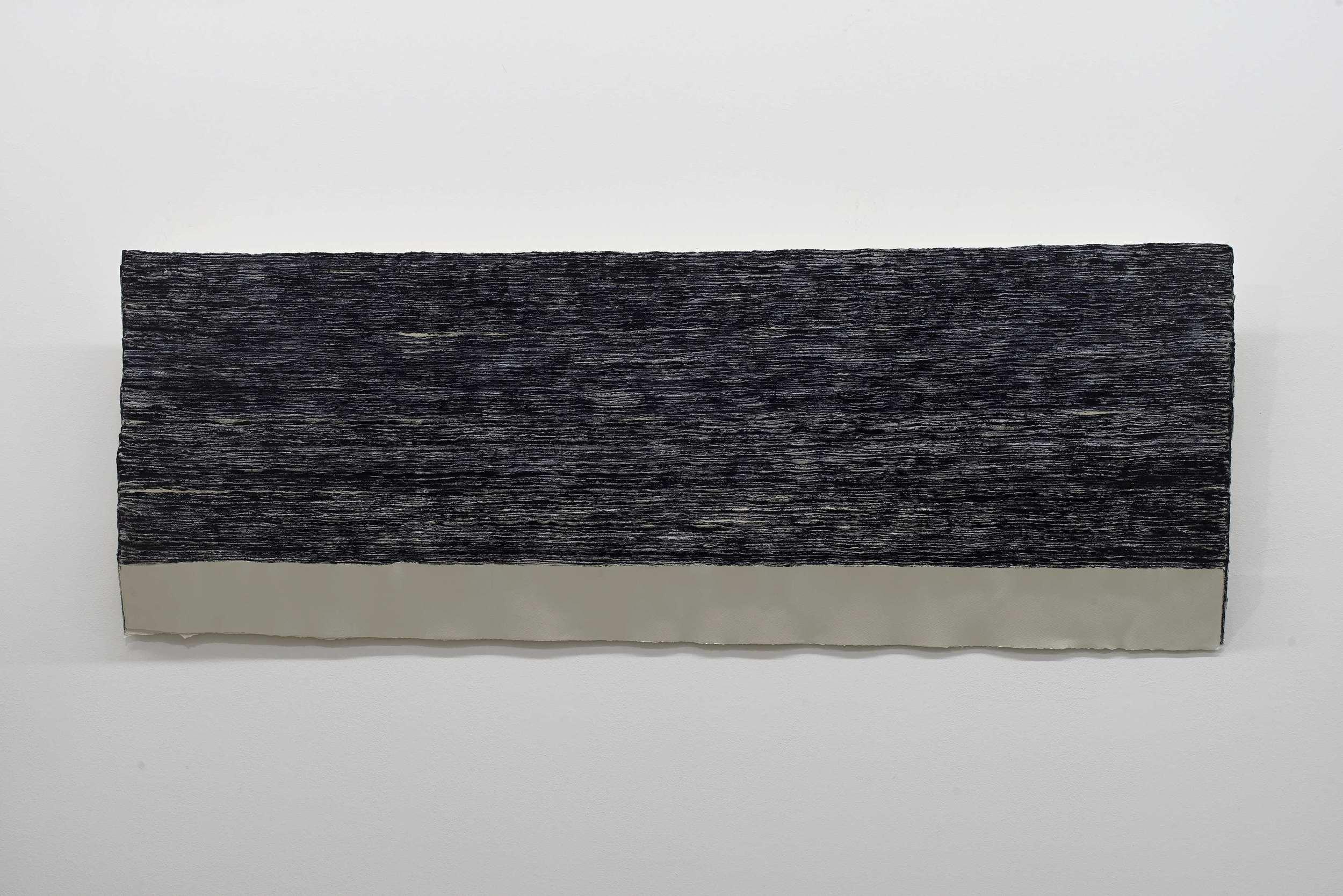 n. 329 - sedimentation (diptych) [Right] 2015 Acid-free cotton pulp watercolour paper, archival EVA glue, Aizumiiro (tourmaline mineral pigment), Ultramarine ash pigment and nikawa (cow glue hide) H58 x D150 x W6 cm (each; artwork)