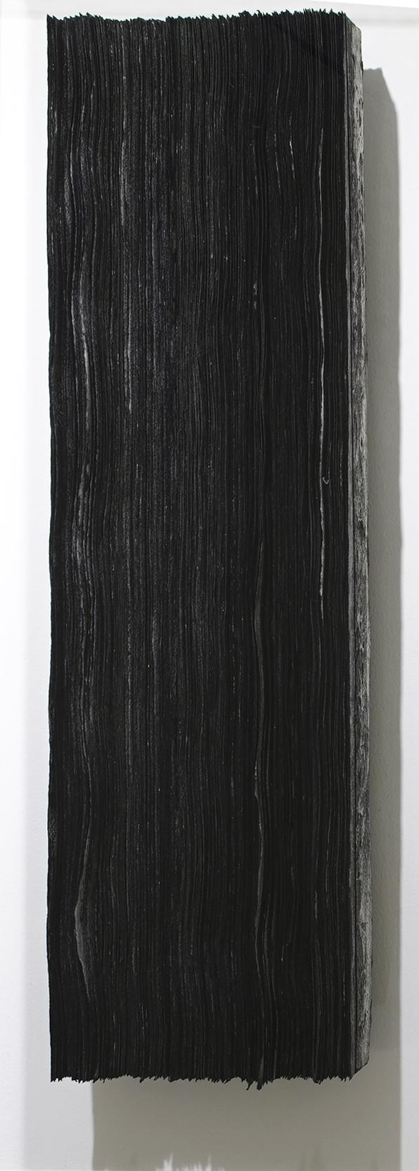 n. 328 - dispersion  2015 Acid-free cotton pulp watercolour paper, black pigment,  Yakirokusho  (burnt malachite mineral pigment), archival EVA glue and  nikawa  (cow hide glue) H78 x W18 x D12 cm (artwork)