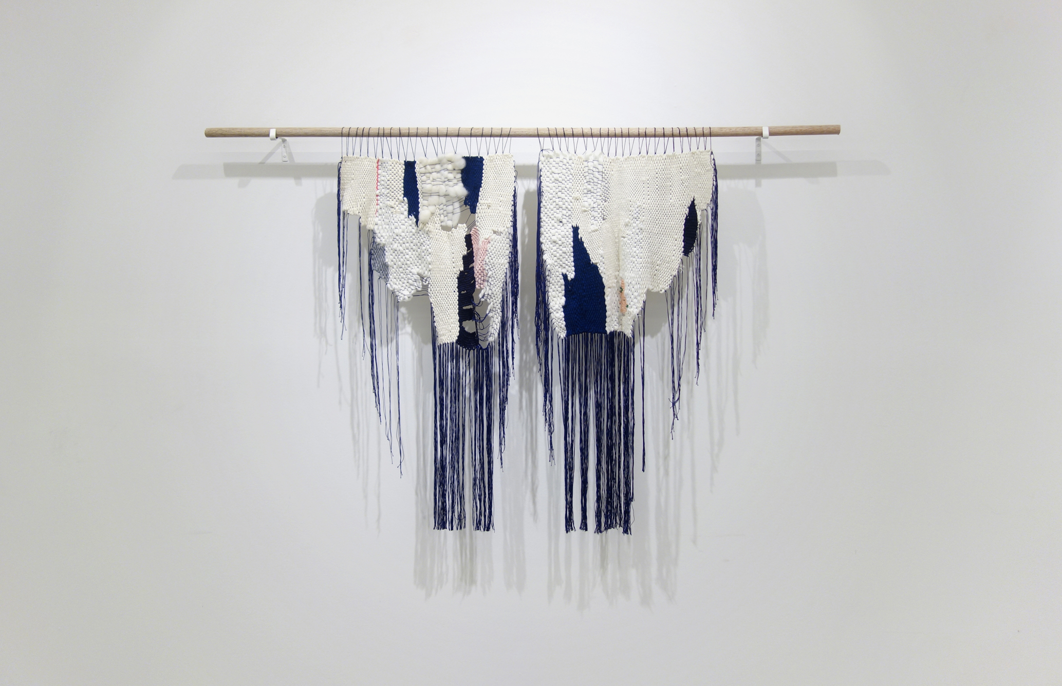 Izziyana Suhaimi, Soft Places, 2015, Cotton thread, wool woven and embroided, H89 x W44 cm (L), H89 x W43 cm (R).jpg