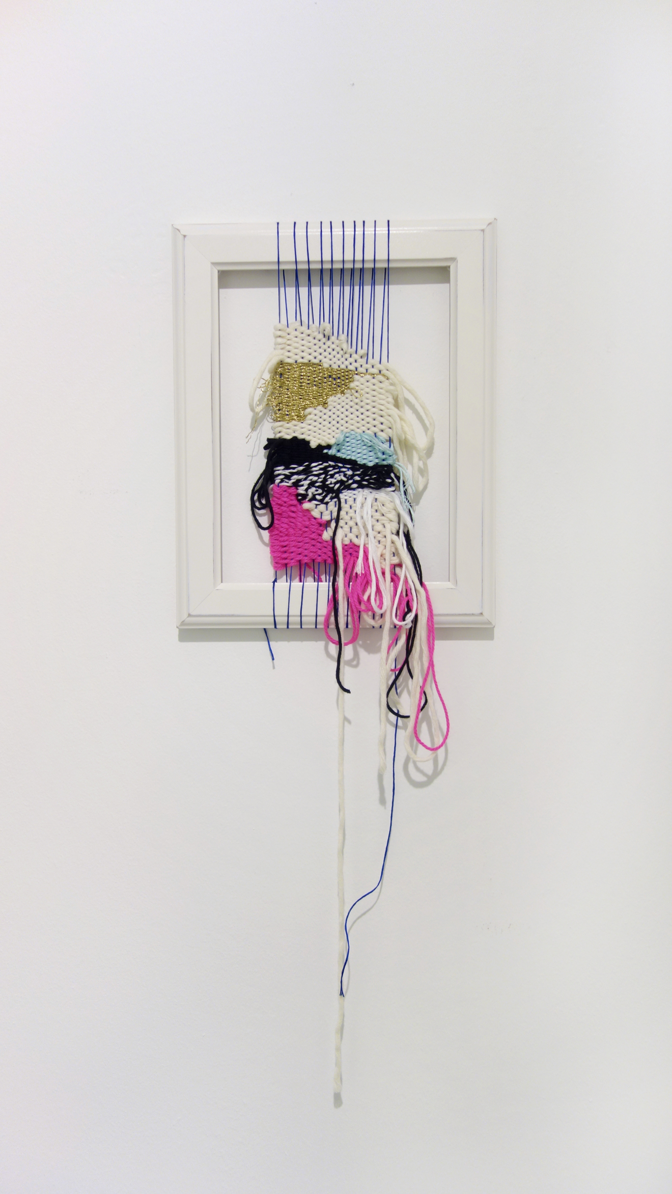 Izziyana Suhaimi, What It Could Otherwise Be, 2015, Cotton, acrylic and polyester thread woven on found frame, H66 x W24 cm.jpg