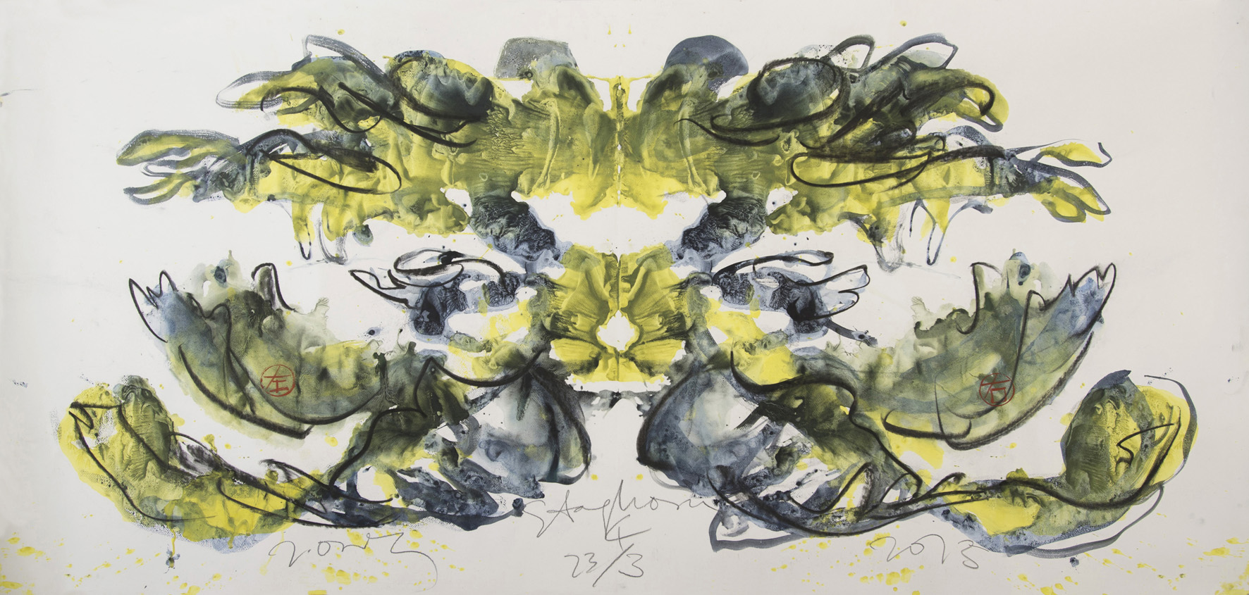 Jimmy Ong  Staghorn 4  2013 Charcoal and color pigment on paper H76.2 x W151.5 cm