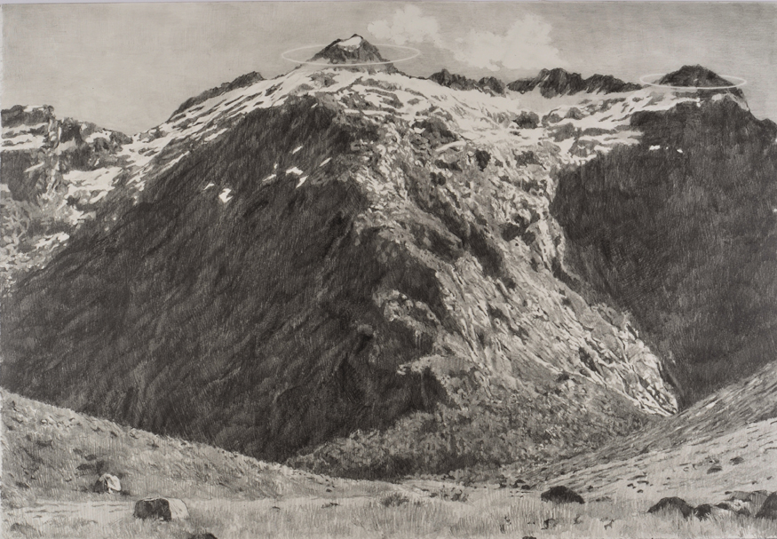 Ashley YEO  Brutalism of the Universe (Mountain)  2012 Graphite on paper H37.5 x W55 cm