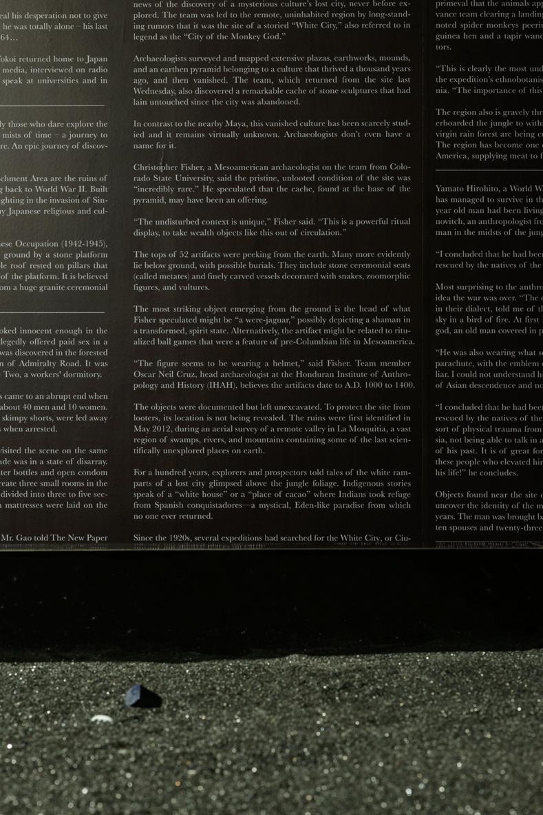 Donna ONG  Deep calls to Deep  (detail) 2016 Black sand, black acrylic box, miscellaneous ready-mades, text on vinyl sticker Dimensions variable  Photo Credit:Fotograffiti (John Yuen)