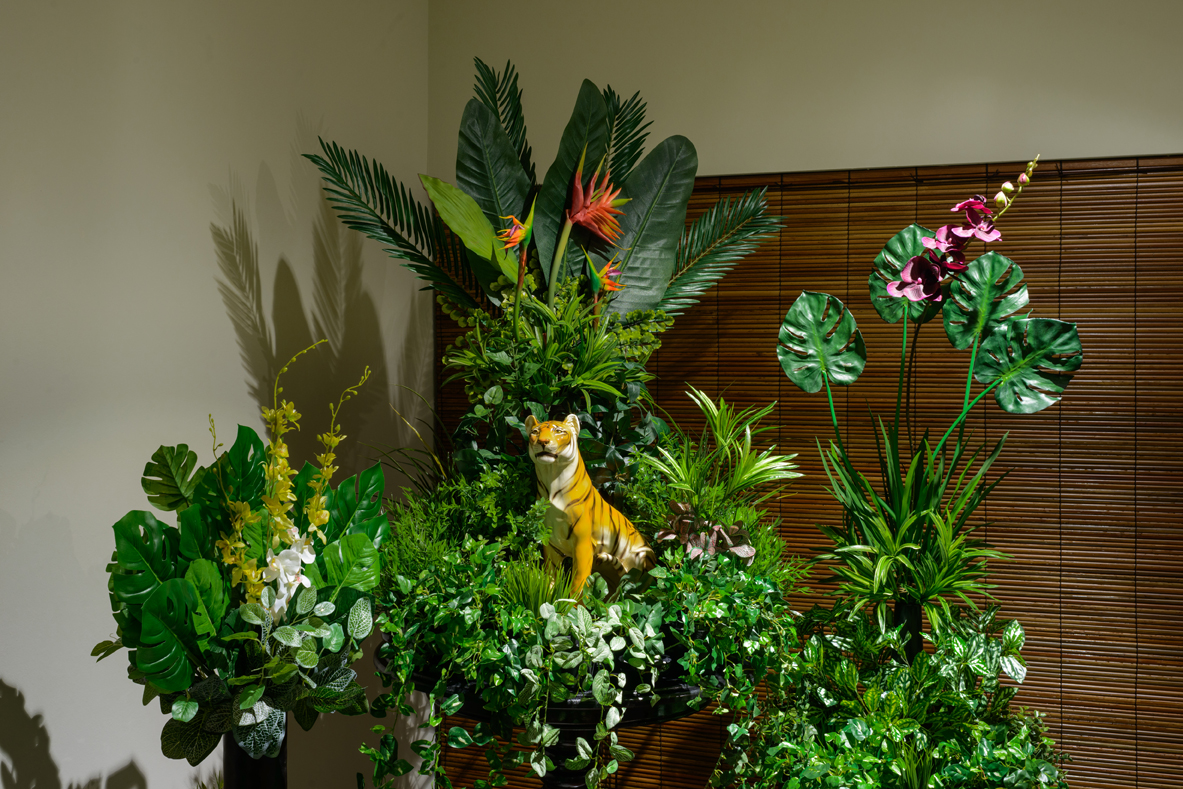 Installation View of  From the Tropics, With Love (2.5)  2016 Antique/reproduction wood and marble furnitures, artificial flowers, vases, pots and ceramic tiger Dimensions variable Photo Credit:Fotograffiti (John Yuen)