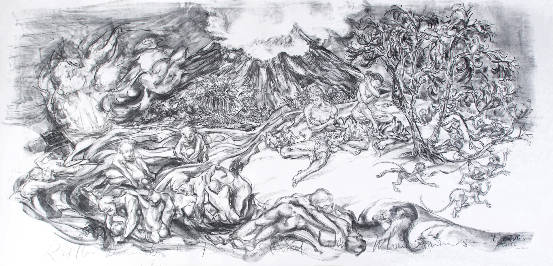 Jimmy ONG  Raffles Descends The Seven Storey Mountain (  莱佛士回首苍生)  2016 Charcoal on paper H128 x W259 cm