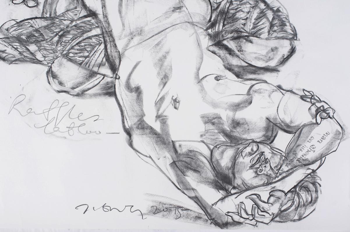 Jimmy ONG  Raffles Tattoo   (  纹身莱佛士) (detail) 2015 Charcoal on paper H148 x W114 cm