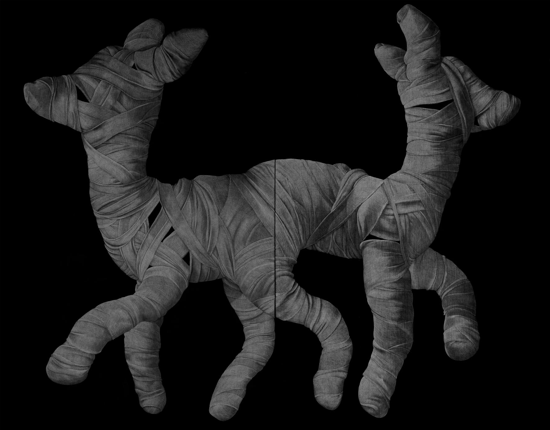 Adeel uz-Zafar  Drawing Appendage  (Diptych) 2014 Engraved drawing on vinyl H243.8 x W305 cm