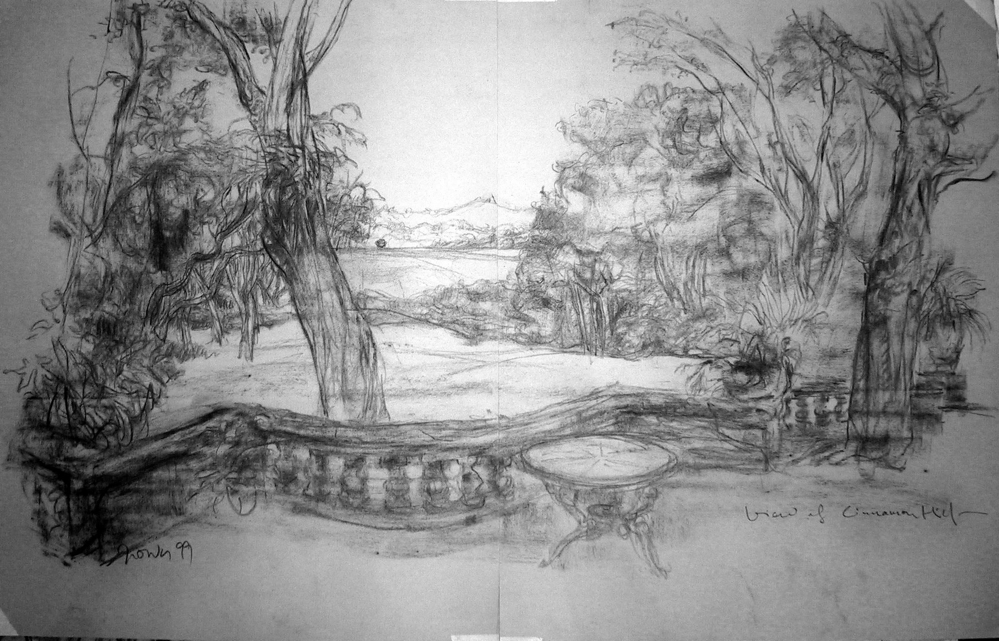 Jimmy ONG  View of Cinnamon Hill  1999 Charcoal on paper H61 x W48 cm (each; diptych)