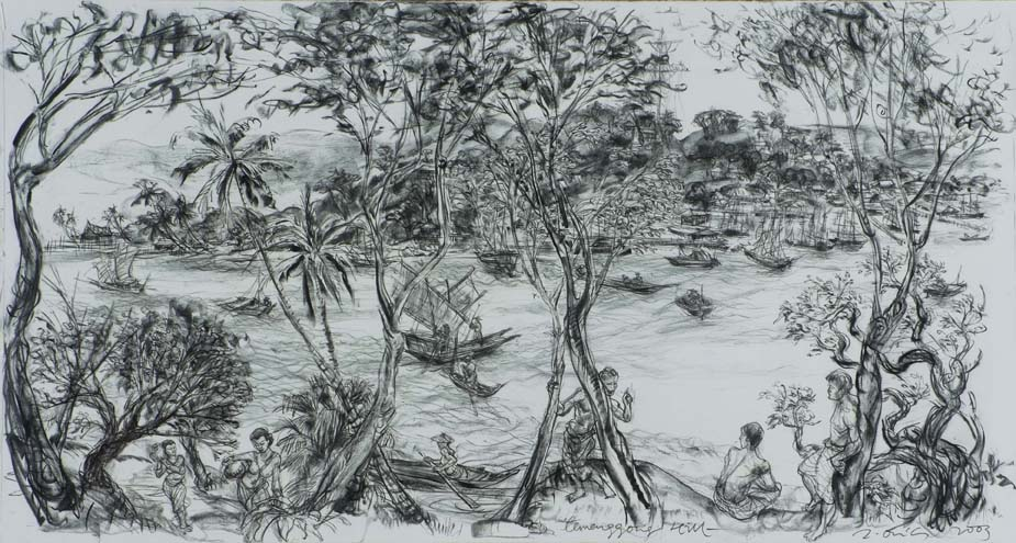 Jimmy ONG  Temenggong Hill  2003 Charcoal on paper H108 x W200 cm