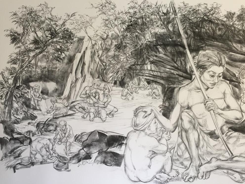Jimmy ONG  Nyi Ageng Serang at Goa Selarong  (detail) 2016 Charcoal on paper H150 x W360 cm