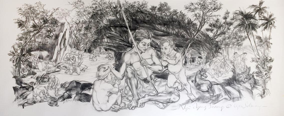 Jimmy ONG  Nyi Ageng Serang at Goa Selarong  2016 Charcoal on paper H150 x W360 cm