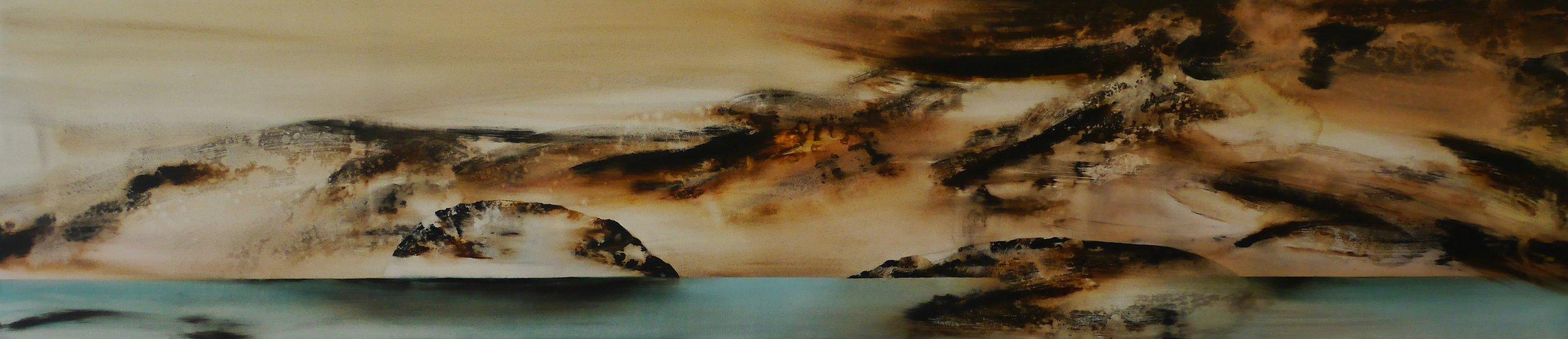 Wyn-Lyn TAN  In(visible) Horizons I  2017 Acrylic on canvas H54 x W245 x D2 cm