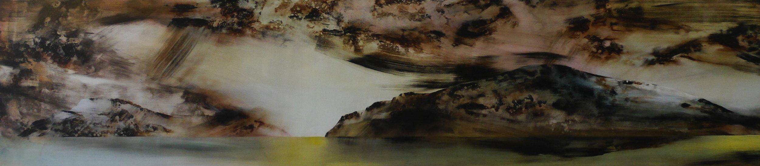 Wyn-Lyn TAN  In(visible) Horizons V  2017 Acrylic on canvas H54 x W245 x D2 cm
