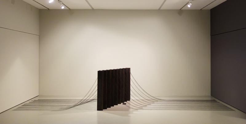 Grace TAN  n. 358 - variable equilibrium  2019 I-Beams in construction steel with polyester sewing yarns Dimensions variable