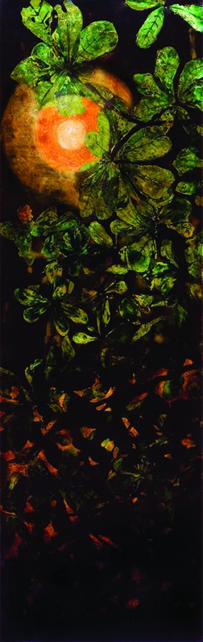 Phi Phi OANH  Black Box (Electric Moon)  2005 - 2006 Vietnamese natural lacquer ( sơn   ta ) on wood  H190 x W60 x D7 cm