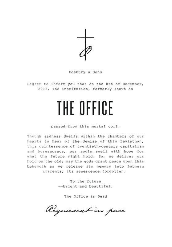 Julie Smits - Fosbury & Sons - Obituary 'The Office is Dead'.jpg