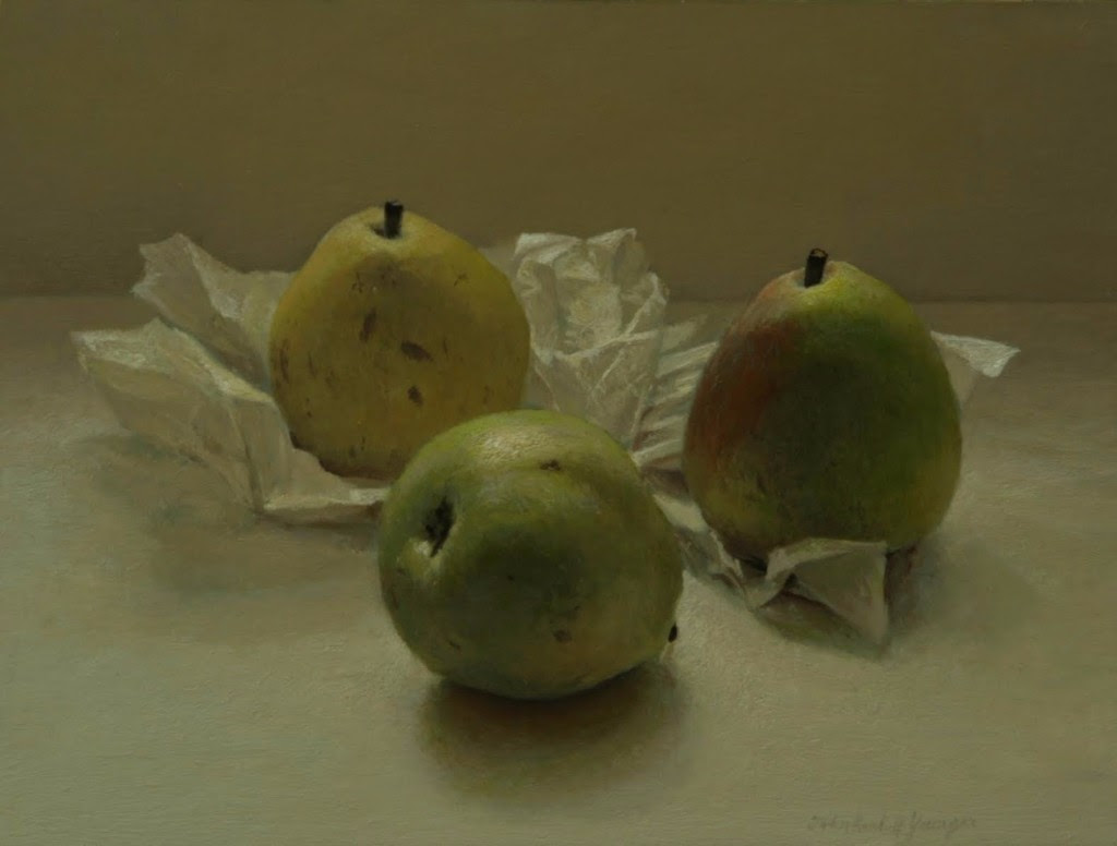 John Randall Younger, Three Pears .Oil on panel, 2013