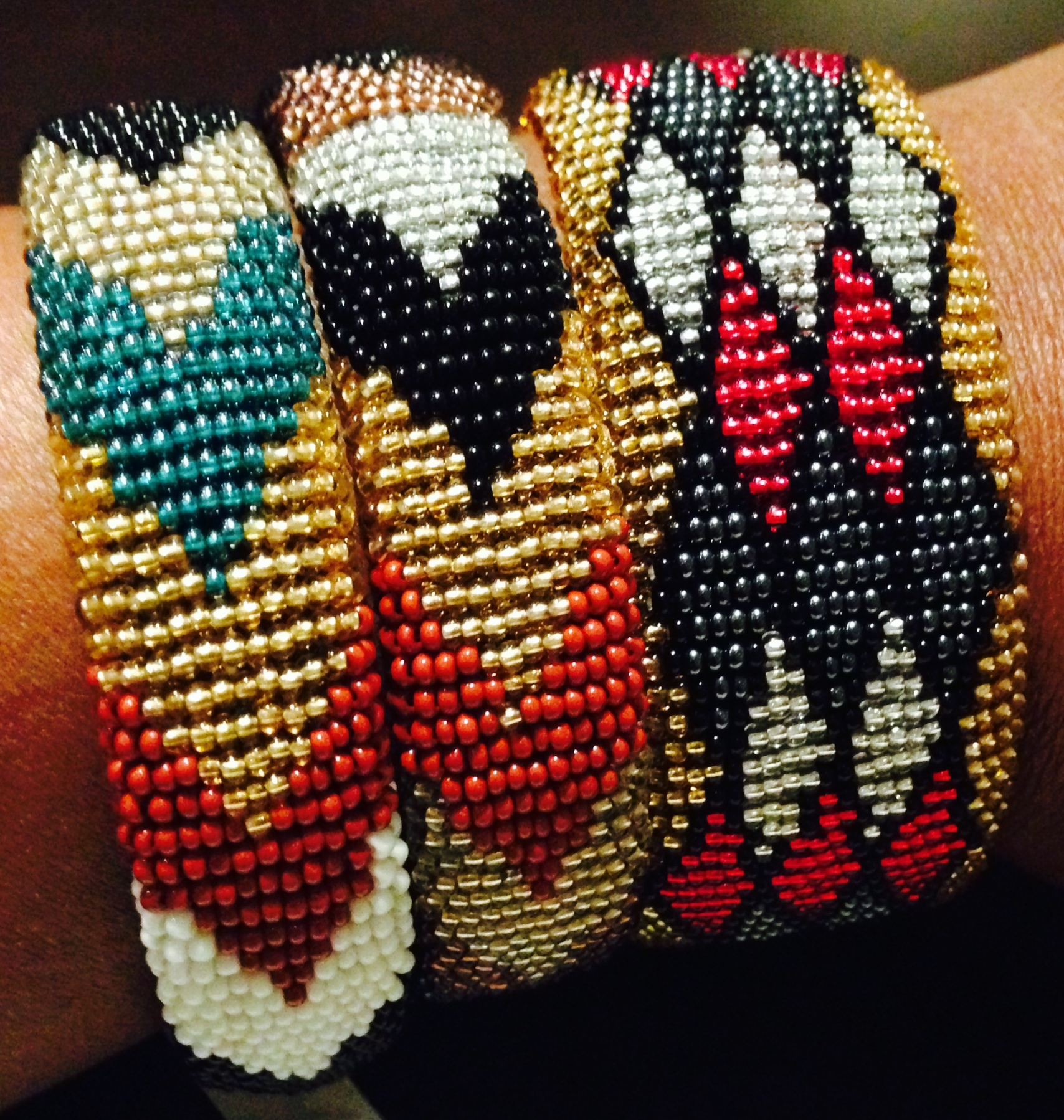 Each tiny little bead is individually strung by Genet  in precise patterns.